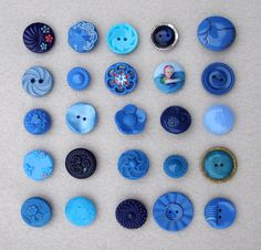 VIntage Buttons in Blue