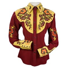 Vera Western shirt with flowers and crystals. What an awesome show shirt with a vintage twist!