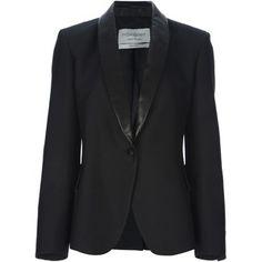 SAINT LAURENT leather lapel blazer