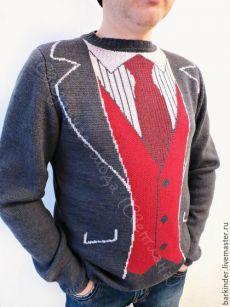"""Купить Вязаный мужской джемпер с """" Джентльмен"""" - темно-серый, рисунок, мужская одежда, джемпер"""