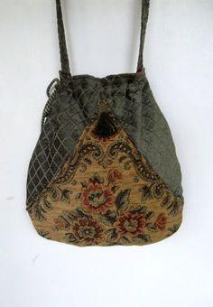 Boho Sage Green Floral Bag Pocket Boho Bag by piperscrossing