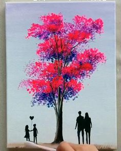 Easy Canvas Painting, Diy Canvas Art, Painting Tips, Acrylic Paintings, Tree Paintings, Painting Art, Painting Tutorials, Painting Flowers, Indian Paintings