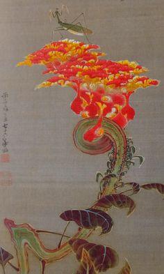 伊藤若冲 Jakuchū Ito Cockscomb and Mantis. Japanese Artwork, Japanese Painting, Chinese Patterns, Oriental, Flower Clipart, High Art, Japan Art, Flower Crafts, Art Forms