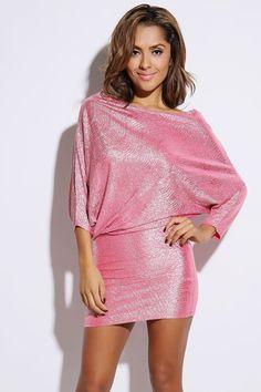 #1015store.com #fashion #style light pink metallic crinkle asymmetrical drape sleeve clubbing mini dress