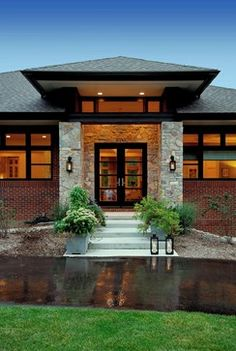 Contemporary Prairie Style Homes | Prairie style home - contemporary - entry - detroit - by VanBrouck ...