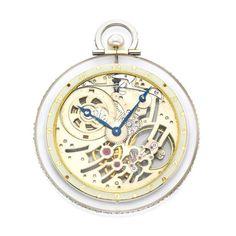 An Art Deco Rock Crystal, Pearl and Diamond Skeleton Dial Pocket Watch, by Van Cleef & Arpels, circa 1920