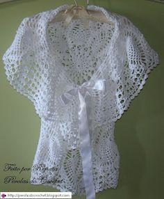 "Crochet circular ♥LCC-MRS♥ with diagram. Click underneath picture where it says ""Graphico aqui"" ---- * Pérolas do Crochet: Colete de crochet - Modelo circular."