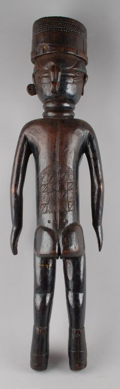 Full: Back Figure (ceremonial, healing); standing female figure with scarification carved on stomach and lower back, round headdress. Sierra Leone, Carving, Gallery, Roof Rack, Wood Carvings, Sculptures, Printmaking, Wood Carving