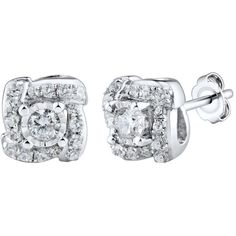 1/4 CT. T.W. Round White Diamond 10K Gold Stud Earrings ($437) ❤ liked on Polyvore featuring jewelry, earrings, gold jewellery, white gold diamond jewelry, white diamond earrings, gold earrings and yellow gold jewelry