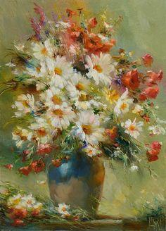 Картина с полевыми цветами «С ромашками»