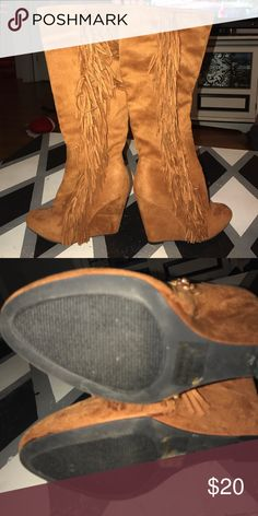 Fringe boots Rust colored wedge fringe boots. Size 8 but fits more like 7.5 never worn Shoes Wedges