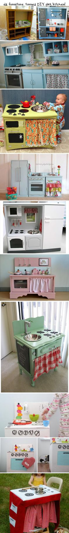 Old furniture turned DIY play kitchen - great ideas for if I ever have grandkids!