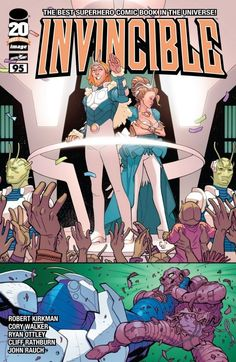 Invincible #95 In the Flaxan dimension, the events that placed Robot and Monster Girl at odds finally unfold as the sad truth comes to light. On Earth--everyone is getting their butts kicked by the Flaxans--will the new Invincible be able to turn the tide? And where is Mark Grayson during all this?
