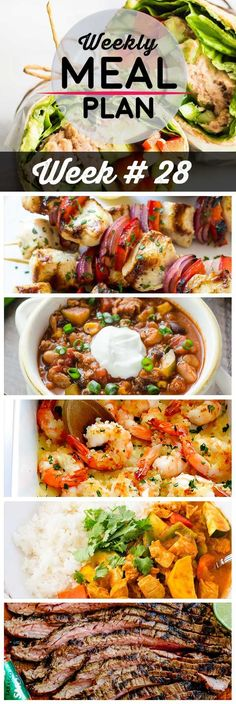 Weekly Meal Plan #28! A meal plan to help you keep things tasty each week, including tuna wraps, greek chicken kabobs, slow cooker turkey chili, and more! | HomemadeHooplah.com