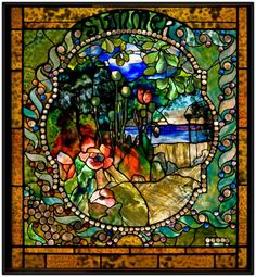 Summer panel from the Four Seasons window, c. 1899–1900. Living room, Laurelton Hall, Long Island, New York, 1902–57. Exhibited: Exposition Universelle, Paris, 1900, and Prima Esposizione Internazionale d'Arte Decorative Moderna, Turin, Italy, 1902. Leaded glass. Tiffany Glass and Decorating Company, New York City, 1892–1900.