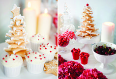 Holiday dessert table in red and ice blue: iced sugar cookie tree