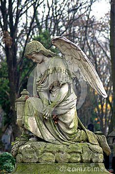 statue of an angel at Powazki cemetery - Warsaw, Poland. Cemetery Angels, Cemetery Statues, Cemetery Art, Sculpture Art, Sculptures, Greek Statues, Old Cemeteries, Graveyards, I Believe In Angels