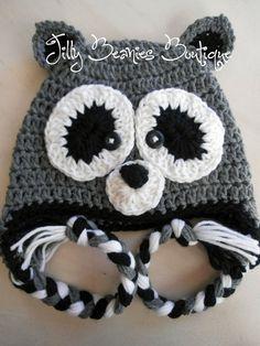 Racoon Beanie Hat Crochet Grey Black by JillyBeaniesBoutique