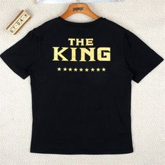 Couples T shirts Leisure Woman Cotton Crown King Queen T-shirt Letter Print Valentine Man Women Short Sleeve O neck T-shirt P20