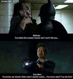 Marvel is always better and Tony Stark (iron man) is my favorite superhero Avengers Humor, Funny Marvel Memes, Dc Memes, Marvel Jokes, Funny Memes, Hilarious, Funny Videos, Loki Meme, Dc Comics Funny