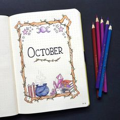 "NotebookTherapy.com | bujo 💕 on Instagram: ""Magical October cover page by @birdybujo 🔮✨ I love this theme so much ☺️ I hope everyone has a super special Sunday, even if you're just…"""
