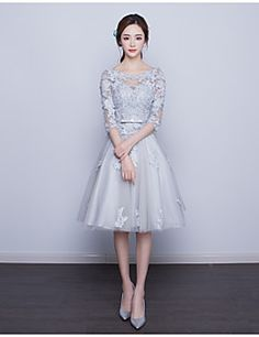 Cocktail+Party+Dress+A-line+Scoop+Knee-length+Lace+with+Appliques+/+Lace+–+USD+$+200.00