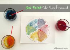 Gel paint color mixing experiment from left brain craft brain
