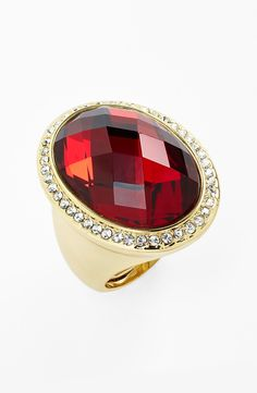 Garnet and diamond cocktail ring