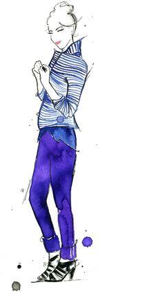 creating quick watercolor and pen fashion illustrations. #purple #fashion #illustration