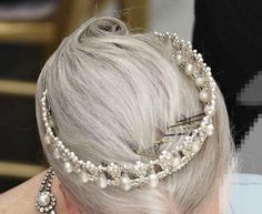 An unusual over-head photo of Margarethe in the pearl tiara, complete with…