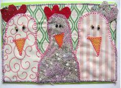 Funny Chicken - Lustige Hühner! - Karte: Hühner Carmen, Charlotte und Annabella von Traudi's Sticheleien auf DaWanda.com