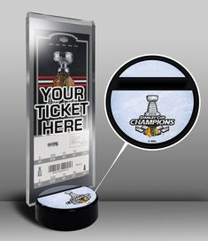7f7f91204cd 2015 NHL Stanley Cup Champions Hockey Puck Ticket Stand - Chicago Blackhawks