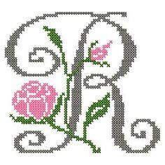design-Cross Stitch-Abc Rose anglaise-R Cross Stitch Letters, Cross Stitch Fabric, Cross Stitch Art, Counted Cross Stitch Patterns, Cross Stitching, Cross Stitch Embroidery, Hand Embroidery Patterns Free, Rose Anglaise, Crazy Mom
