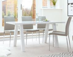 The Zen 6 Seater White Gloss Dining Table is modern take on an old classic trestle table design, but with added features that make it much more suitable for modern homes. 6 Seater Dining Table, Dinning Room Tables, Dining Table Design, Modern Dining Table, Dining Table Chairs, Dining Furniture, Dining Set, Trestle Table, White Gloss Dining Table