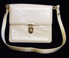 Vintage Cream Ivory Patent Leather Adjustable by mustangannees, $39.00
