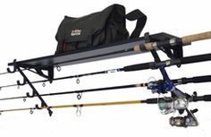 An affordable and easy to use wall rack for fishing rod storage. Will also hold tackle boxes and other fishing gear. An affordable and easy to use wall rack for fishing rod storage. Will also hold tackle boxes and other fishing gear. Fishing Pole Storage, Fishing Rod Rack, Fishing Rods And Reels, Fly Fishing Rods, Fishing Knots, Fishing Girls, Going Fishing, Fishing Stuff, Boat Storage