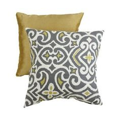 Gray & yellow pillows for living room.