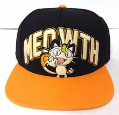 Pokemon MEOWTH SNAPBACK HAT Black/Orange Scratch Cat Flat-Bill Men/Women/Teen #Bioworld #BaseballCap