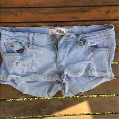 •SOLD ON Ⓜ•️Hollister distressed shorts size 5 -Hollister distressed shorts SIZE 5  -HAS LIGHT STAIN (not noticeable when wearing) (maybe could be washed out,never been treated). -I have 3 more pair of shorts -feel free to ask questions -ships same day or next day -WILLING TO NEGOTIATE Hollister Shorts Jean Shorts