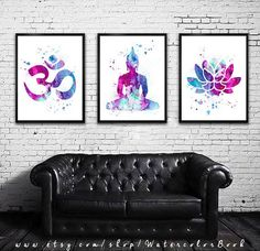 Buy 2 Get 1 FREE!!! Special offer, Yoga 2 Watercolor art Print in blue and purple, Buddha watercolor, Buddha art, Om Symbol Yoga art by WatercolorBook on Etsy #yogaset