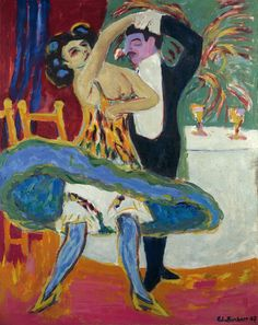 Ernst Ludwig Kirchner (German, 1880-1938), Vaudeville Theatre, 1909-16. Oil on canvas, 151 x 120 cm.