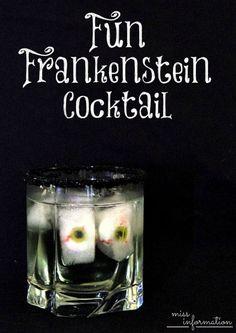 Make these fun Frankenstein Halloween Cocktails with Gummy eyeballs and black sanding sugar! Halloween Cocktails, Easy Cocktails, Halloween Food For Party, Halloween Treats, Cocktail Recipes, Halloween Stuff, Drink Recipes, Dessert Recipes, Desserts