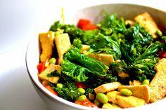 spicy kale and tofu stir fry via felicia sullivan - use veg stock, no sugar for vegan