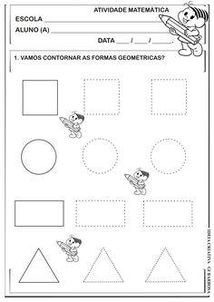 Formas Geométricas Pontilhado Atividade Turma da Mônica