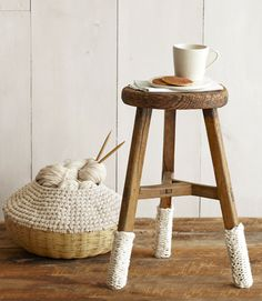 I love this idea on the stool legs. My Mama made me a knitting basket like this one 35 yrs ago ! White Knitted Home Decorations - White Home Decor - Country Living Bamboo Basket, Knit Basket, Crochet Baskets, White Home Decor, Furniture Legs, White Furniture, Crochet Home, Home Accessories, Diy Projects