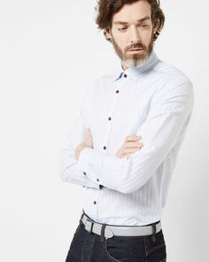 Striped cotton shirt - Blue | Shirts | Ted Baker ROW