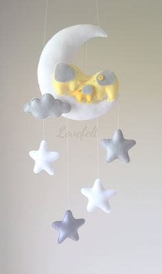 Baby Mobile Moon And Elephant Crib Mobile