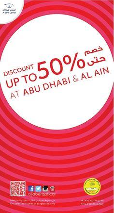 Up to 50% #DISCOUNT #offer is now available in #Abudhabi & #AlAin branches!  This special offer is valid till the 27th of October 2016. Hurry up and get the #look!   الأن في محلات #الجابر_للنظارات في #أبوظبي و #العين ايضاً #خصم  حتى٥٠٪ على مجموعة مختارة من #النظارات الشمسية والطبية! هذا العرض ساري لغاية ٢٧ أكتوبر ٢٠١٦. سارِعو و #استفيدوا من هذا العرض و احصلوا على الطلة المميزة التي تريدونها!  #Aljaber_optical #eyewear #eyeglasses #sunglasses #frames