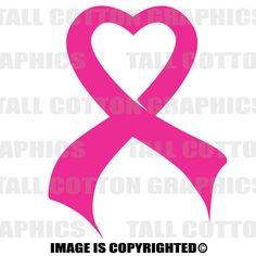 HEART RIBBON Cancer Vinyl Decal - #BC011