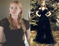 In the fourteenth episode Greer wears this Vintage Black Ruffle Gownfrom Why Naught Vintage Shop.